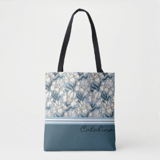 Art Nouveau White Iris Design Tote Bag