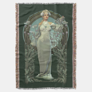 Art Nouveau White Lady (dark) Woven Throw Blanket