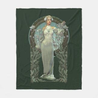 Art Nouveau White Lady Fleece Blanket
