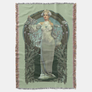 Art Nouveau White Lady (light) Woven Throw Blanket