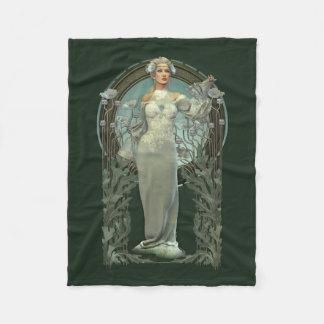 Art Nouveau White Lady Small Fleece Blanket