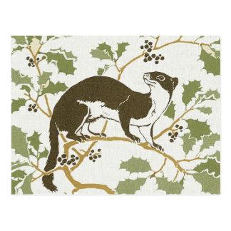 Art Nouveau Wildlife Illustration - Mink Postcard