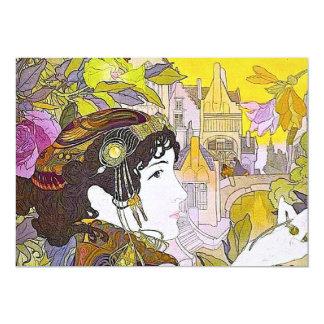 Art Nouveau Woman 13 Cm X 18 Cm Invitation Card