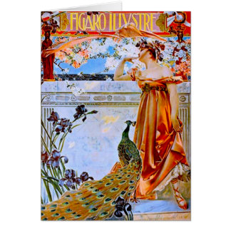 Art Nouveau Woman and Peacock Card