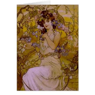 Art Nouveau Woman with Clematis Card