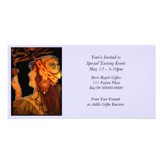 Art Nouveau Woman with Coffee Personalised Photo Card