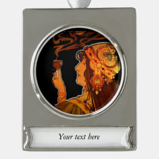 Art Nouveau Woman with Espresso Silver Plated Banner Ornament