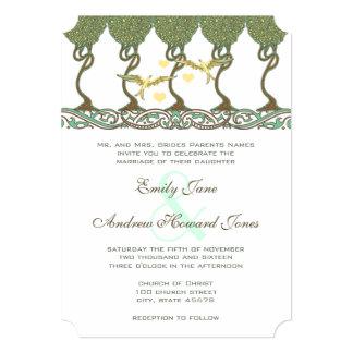 "Art Nouveau Woodland Vintage Bird Wedding Invites 5"" X 7"" Invitation Card"