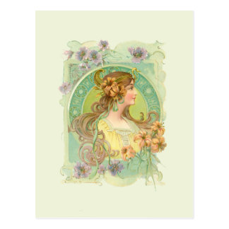 Art Nouveau Young Woman Girl with Stars Flowers Postcard