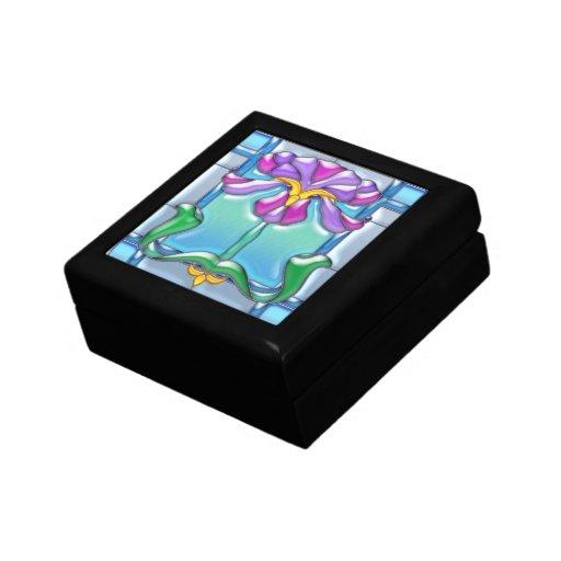 Art Noveau Iris Stained Glass Jewelry Box
