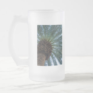 Art Of The Palm Tree Frosted Glass Beer Mug