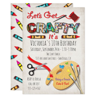 Art Painting Craft Birthday Party Invitations