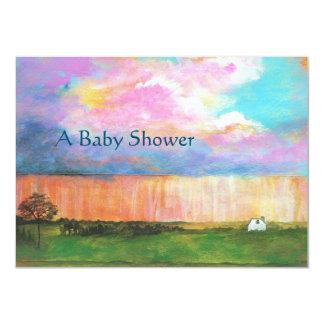 Art Painting Rainstorm Tiny Farm House Baby Shower Card