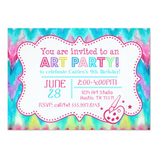 Art Party Invitation Watercolor iKat Chevron