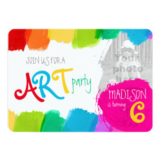 Art party painting 6th birthday party invite