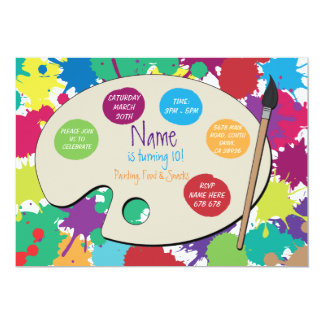 Art Party Painting Birthday Paint Palette Invite