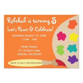 Art Party Palette Invites - Orange