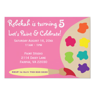 Art Party Palette Invites - Pink