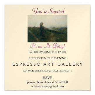 Art Party. Young Girl Knitting in Scenic Landscape 13 Cm X 13 Cm Square Invitation Card