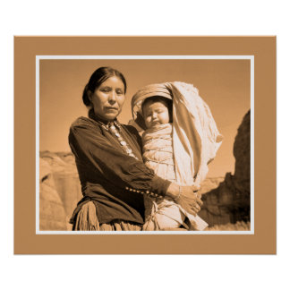 Art photo Navajo woman with infant Posters