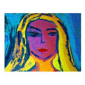 Art postcard blond woman