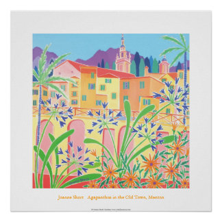 Art Poster: Agapanthus in the Old Town, Menton Poster