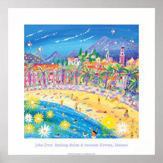 Art Poster: Bathing Babes & Summer Flowers, Menton Poster