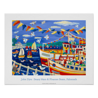 Art Poster: Beany Hats & Pleasure Boats, Falmouth Poster