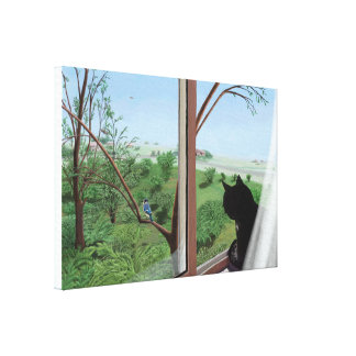 Art Poster Cat at Window looking at landscape Canvas Print