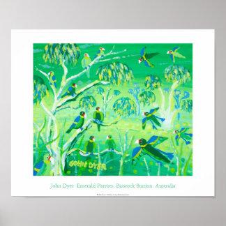 Art Poster: Emerald Parrots, Banrock Station Poster