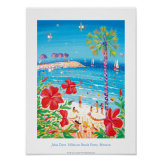 Art Poster: Hibiscus Beach Party, Menton, France