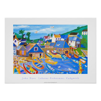 Art Poster: Lobster Fishermen, Cadgwith, Cornwall Poster