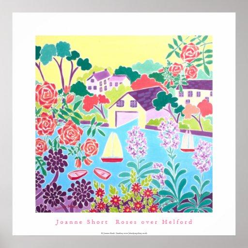 Art Poster: Roses over Helford, Cornwall