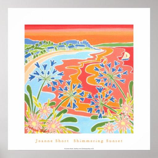 Art Poster: Shimmering Sunset, Tresco, Cornwall