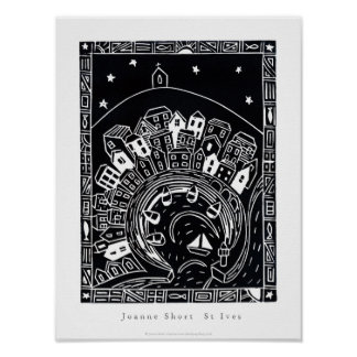 Art Poster: St Ives, Cornwall. Lino Cut Image Poster