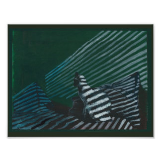Art Print cat on bed in striped lighting