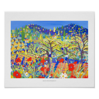 Art Print: Cherries, Poppies and Daisies Provence