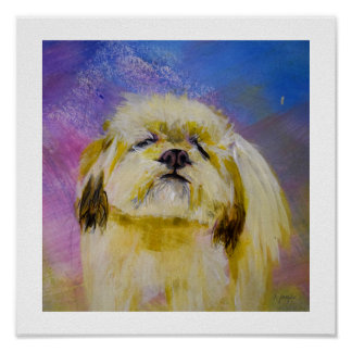 Art print: Happiness is a Shih Tzu illustration Poster
