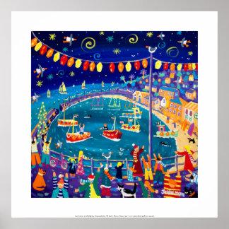 Art Print: Lanterns & Lights, Mousehole, Cornwall Poster