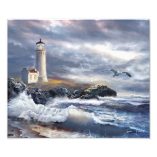 Art Print North Head Lighthouse and Crushing Waves Photo