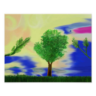 Art Print Painting profile tree in Grass