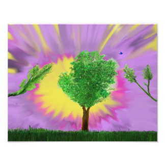 Art Print Painting profile tree in Grass purple sk