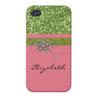 Art Print Pink Lime Glitter Deco Jewelry Element Covers For iPhone 4