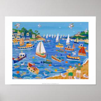 Art Print: Sunday Sailing, Fowey, Cornwall Poster