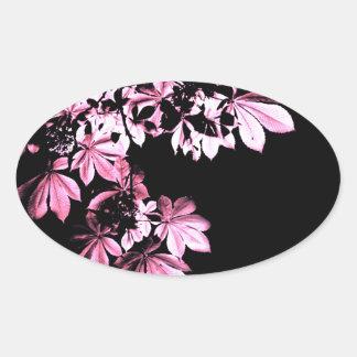 Art purple foliage oval sticker