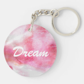 art red avant-garde background hand paint Double-Sided round acrylic key ring