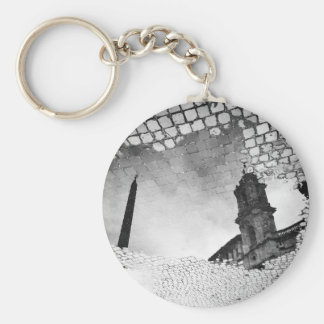 Art reflected basic round button key ring