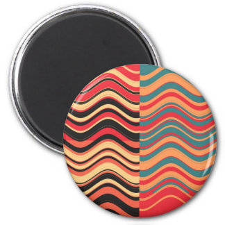 Art Retro Colorful Wave Abstract 6 Cm Round Magnet