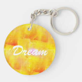 art seamless color yellow background watercolor Double-Sided round acrylic key ring