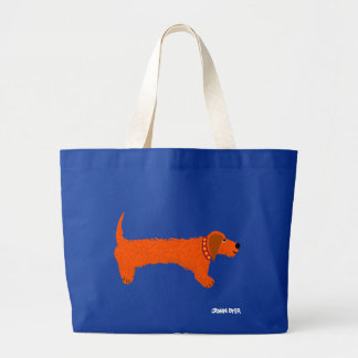 Art Shopping Bag: Jumbo Blue Bag Sausage Dog